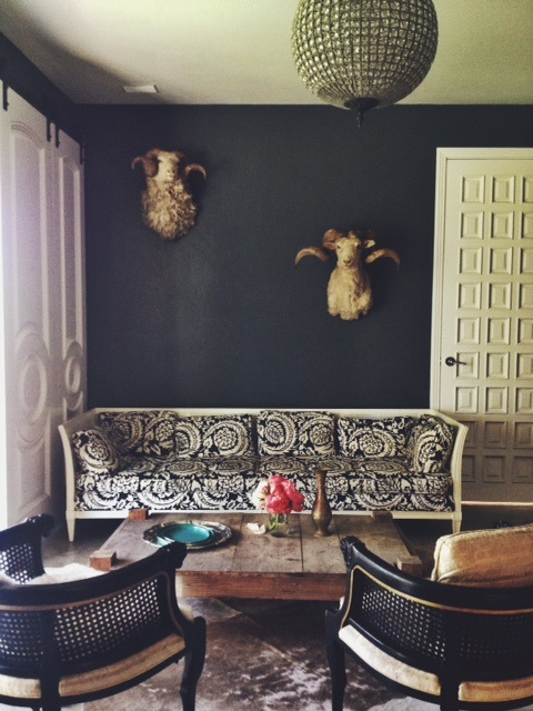 A little snapshot of one of our downstairs rooms. With the grand doors I found and the ridiculously cool sheep heads I scored in a resale shop, the silvery animal skin rug, antique chairs and vintage sofa, I needed the dark grounding walls and the raw coffee table to off set things and keep it unexpected. My favorite thing, juxtapose. It keeps things fun and interesting.